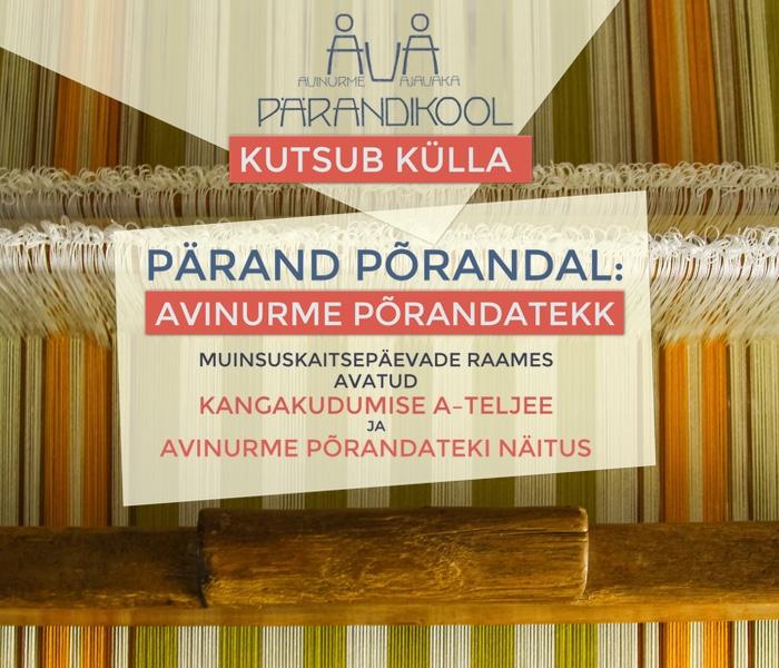 MUINSUSKAITSEPÄEVAD AVINURME AJAVAKAS 10.–12. SEPTEMBRIL